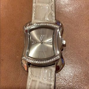 Accessories - Taupe-watch with Roman numerals and crystals